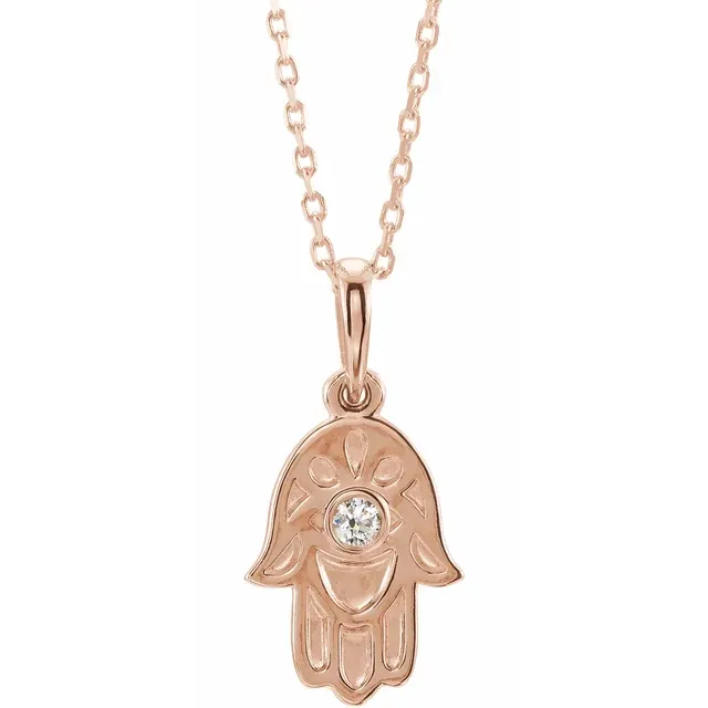 14k Gold Hamsa Necklace w/ Diamond | Magpie Jewellery Gold