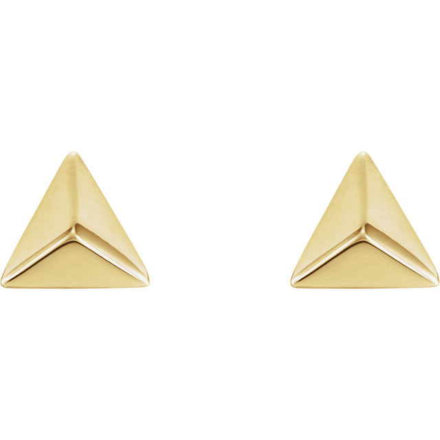 Pyramid Studs - Yellow Gold