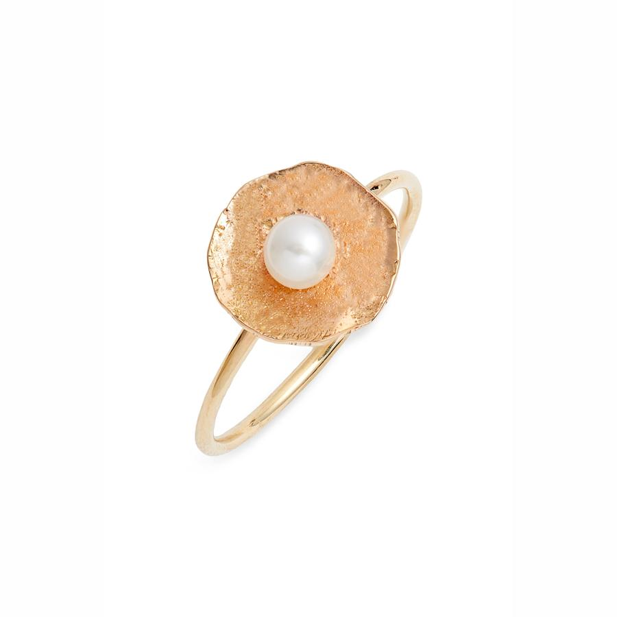 Gold Petal Pearl Ring | Magpie Jewellery