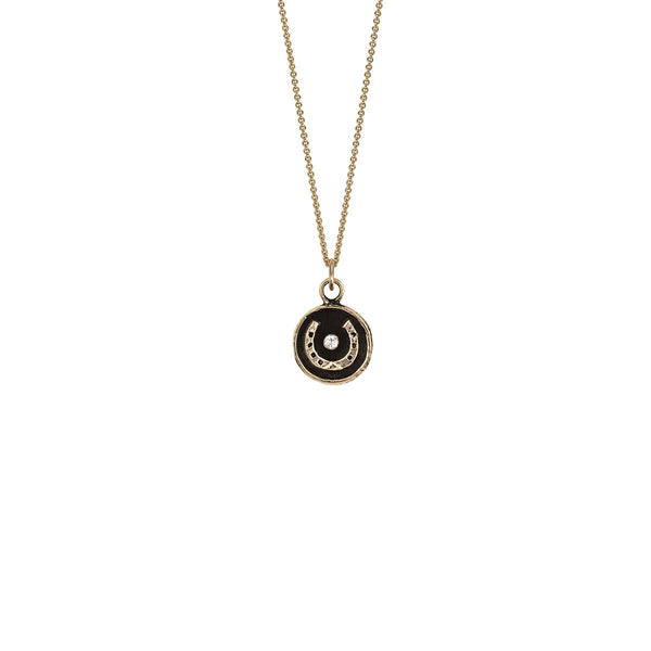 Horseshoe 14k Gold Diamond Set Talisman | Magpie Jewellery