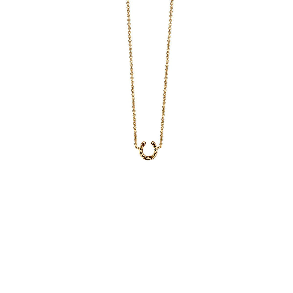 Horseshoe Charm Necklace 14k Gold