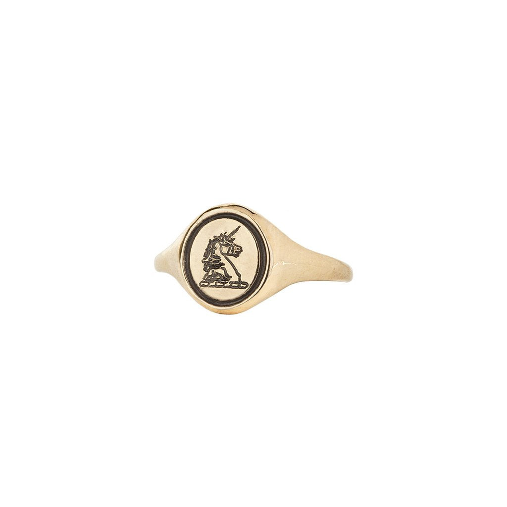 Unicorn 14K Gold Oval Signet Ring | Magpie Jewellery