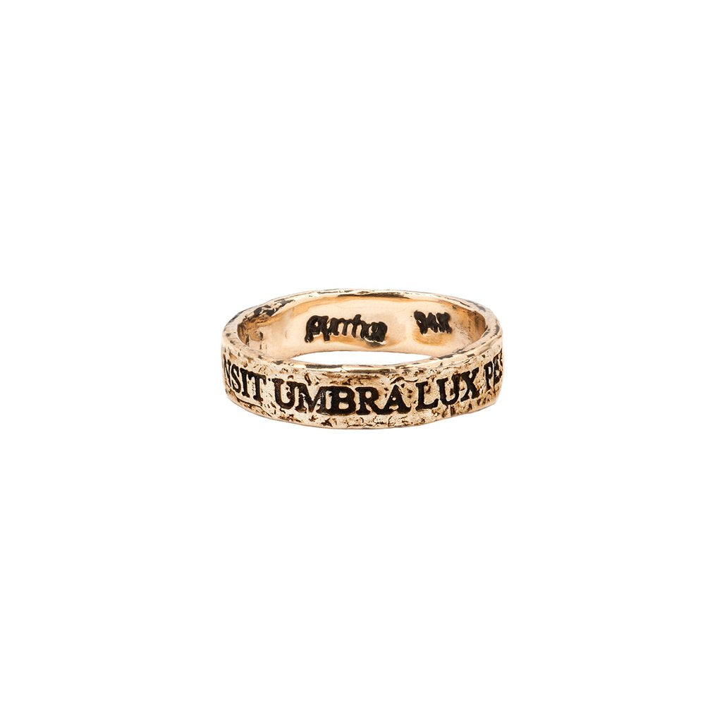 Transit Umbra Lux Permanet 14K Gold Latin Motto Band Ring | Magpie Jewellery
