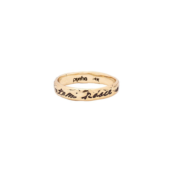 Courage To Challenge Life 14K Gold Poesy Ring | Magpie Jewellery