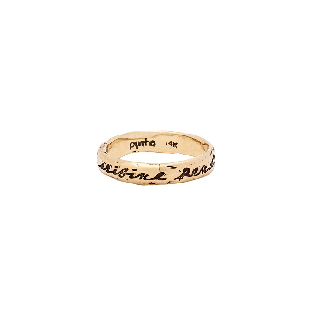 The End Depends on the Beginning 14K Gold Poesy Ring | Magpie Jewellery