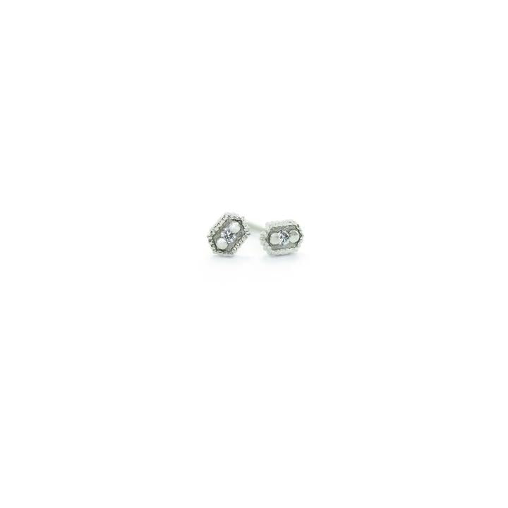 Ribbed Relic Hex Studs | Magpie Jewellery