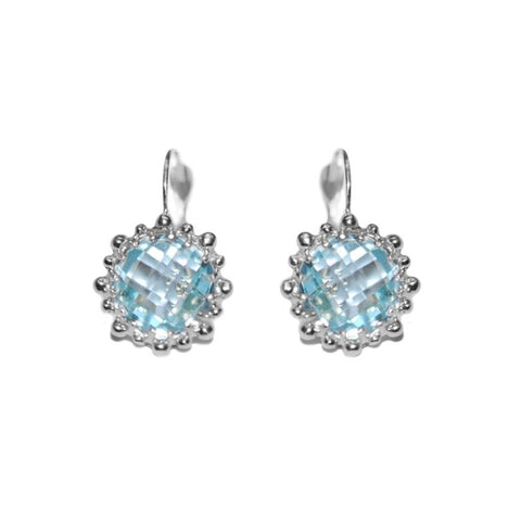 Dew Drop Snowflake Earrings - Blue Topaz & Silver