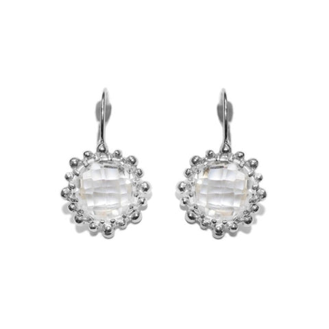 Dew Drop Snowflake Earrings - Clear Topaz & Silver