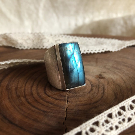 Rectangular Labradorite Ring with Wide Brushed Band