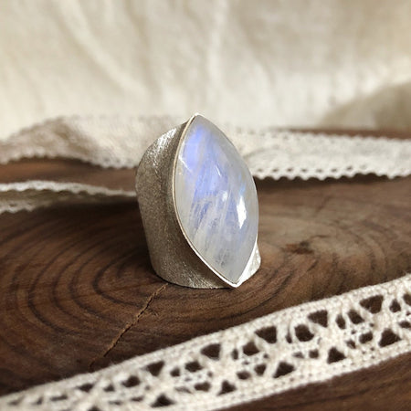 Marquise Moonstone Ring with Wide Brushed Band