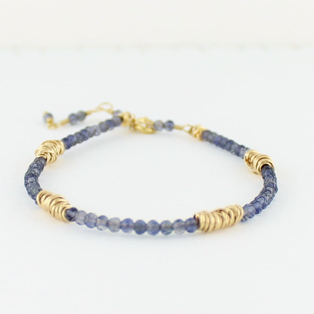 Gold Twist Stacking Bracelet | Magpie Jewellery | Yellow Gold | Iolite