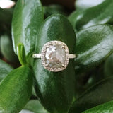 Grey Cushion Diamond Halo Engagement Ring