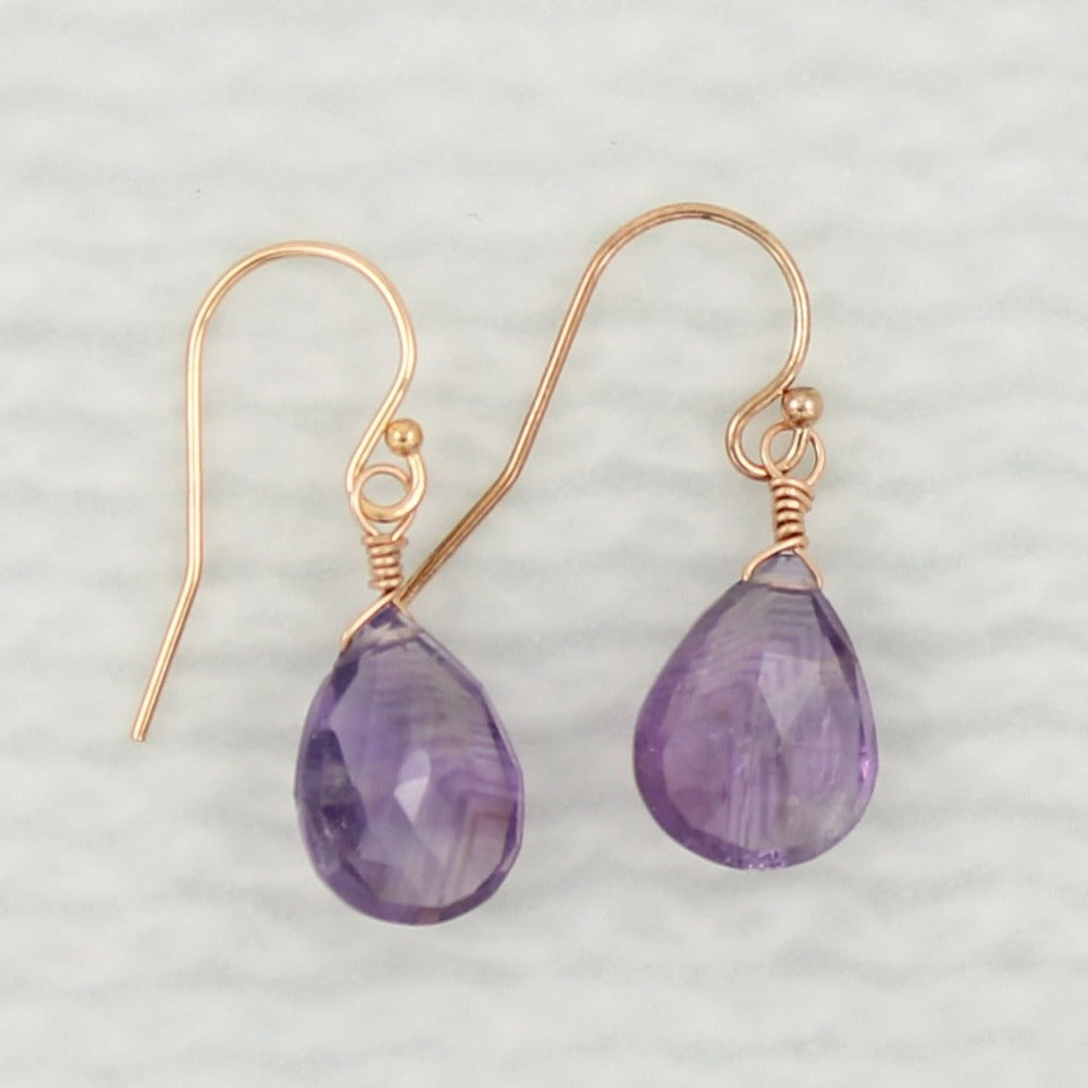 Gemstone Solo Earring | Magpie Jewellery | Rose Gold | Amethyst | Faceted