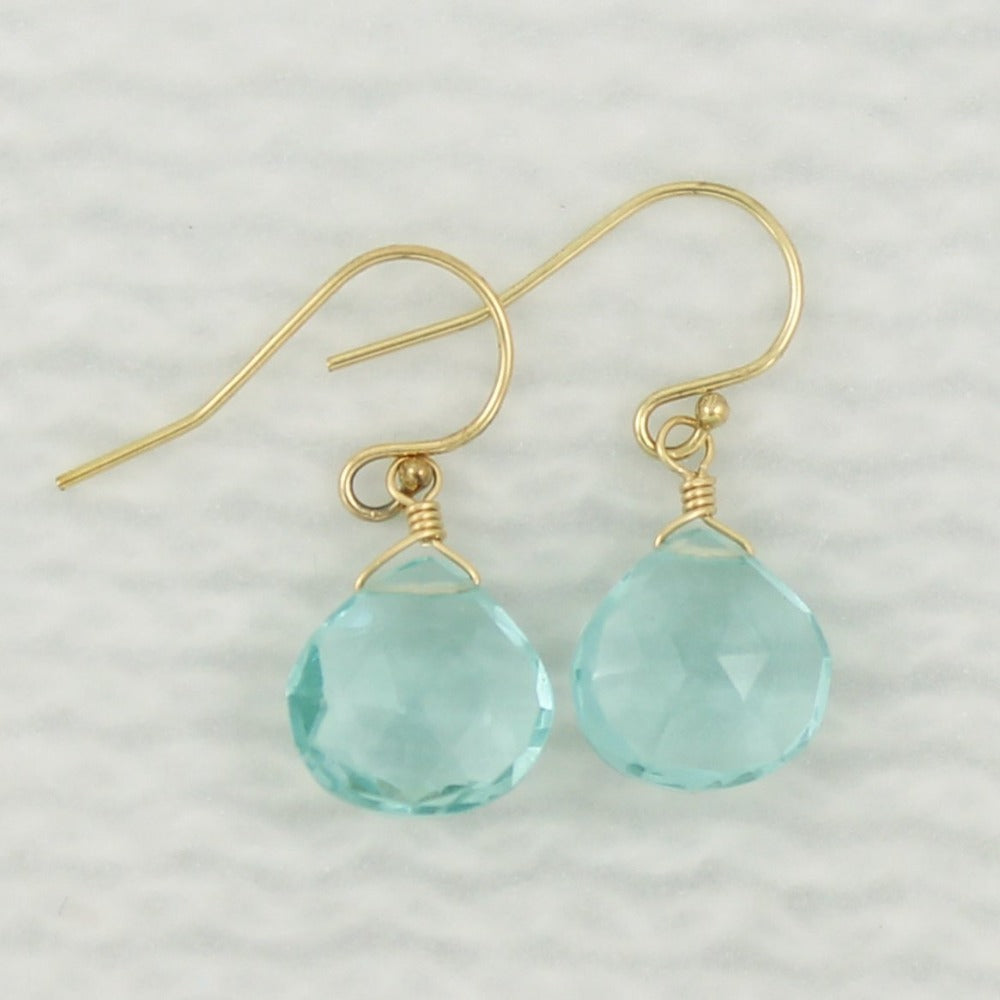 Gemstone Solo Earring | Magpie Jewellery | Yellow Gold | Teal Quartz | Faceted