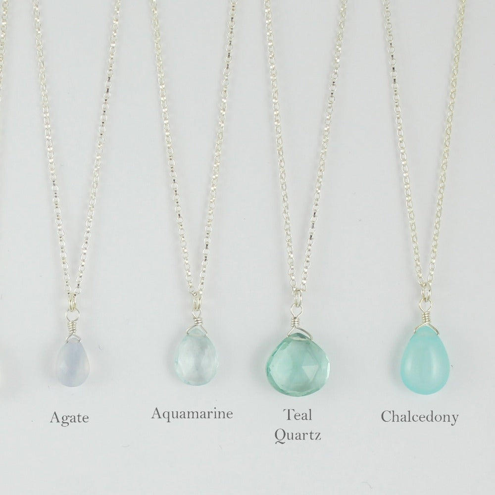 Silver Gemstone Solo Necklace | Magpie Jewellery | Agate, Faceted | Aquamarine, Faceted | Teal Quartz, Faceted | Aqua Chalcedony | Listed Left-to-Right | Labelled