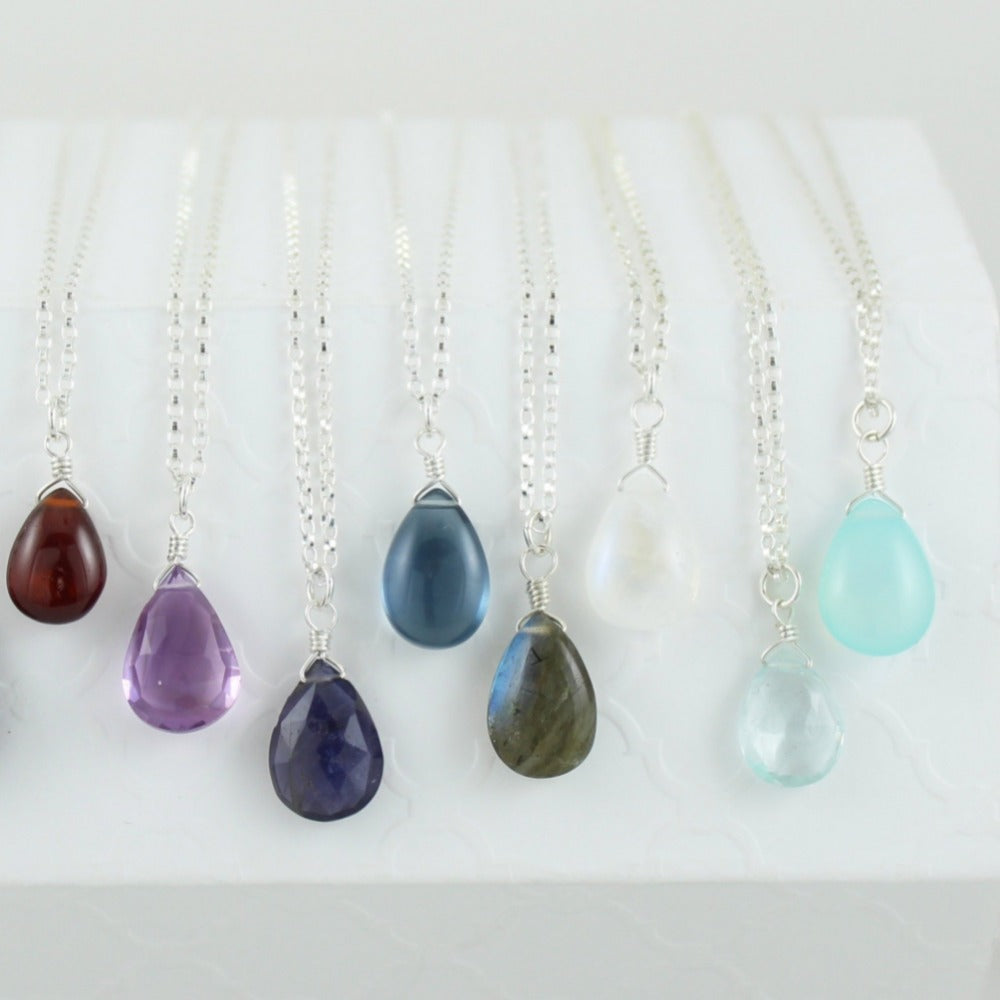 Silver Gemstone Solo Necklace | Magpie Jewellery | Black Onyx | Garnet | Amethyst, Faceted | Iolite, Faceted | Dark Blue Quartz | Labradorite | Moonstone | Aquamarine, Faceted | Aqua Chalcedony | Listed Left-to-Right