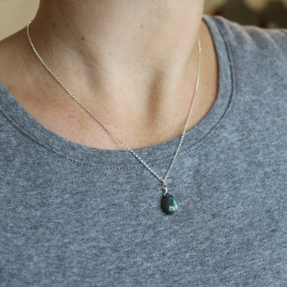 Silver Gemstone Solo Necklace | Magpie Jewellery | Labradorite | On Model