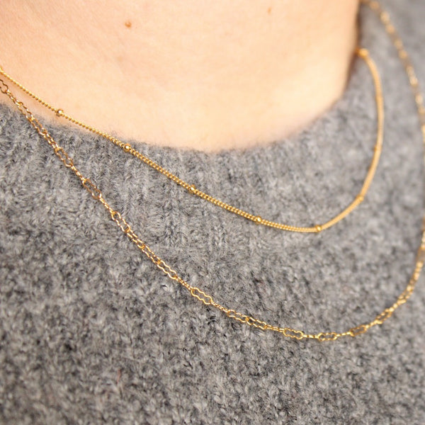 "Satellite Chain | Magpie Jewellery | Yellow Gold | On Model | Layered 16"" with 18"" Peanut Chain"