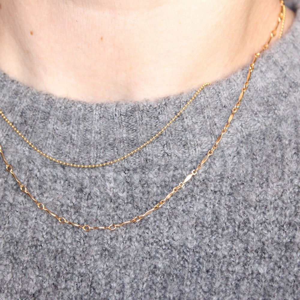 "Tiny Ball Chain | Magpie Jewellery | Yellow Gold | On Model | Layered 16"" with 18"" Dapped Bar Chain"
