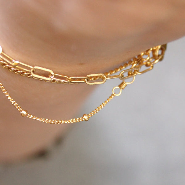 Satellite Chain Bracelet | Magpie Jewellery | Yellow Gold | On Model | Layered with Fine Paperclip Chain Bracelet and Curb Chain Bracelet
