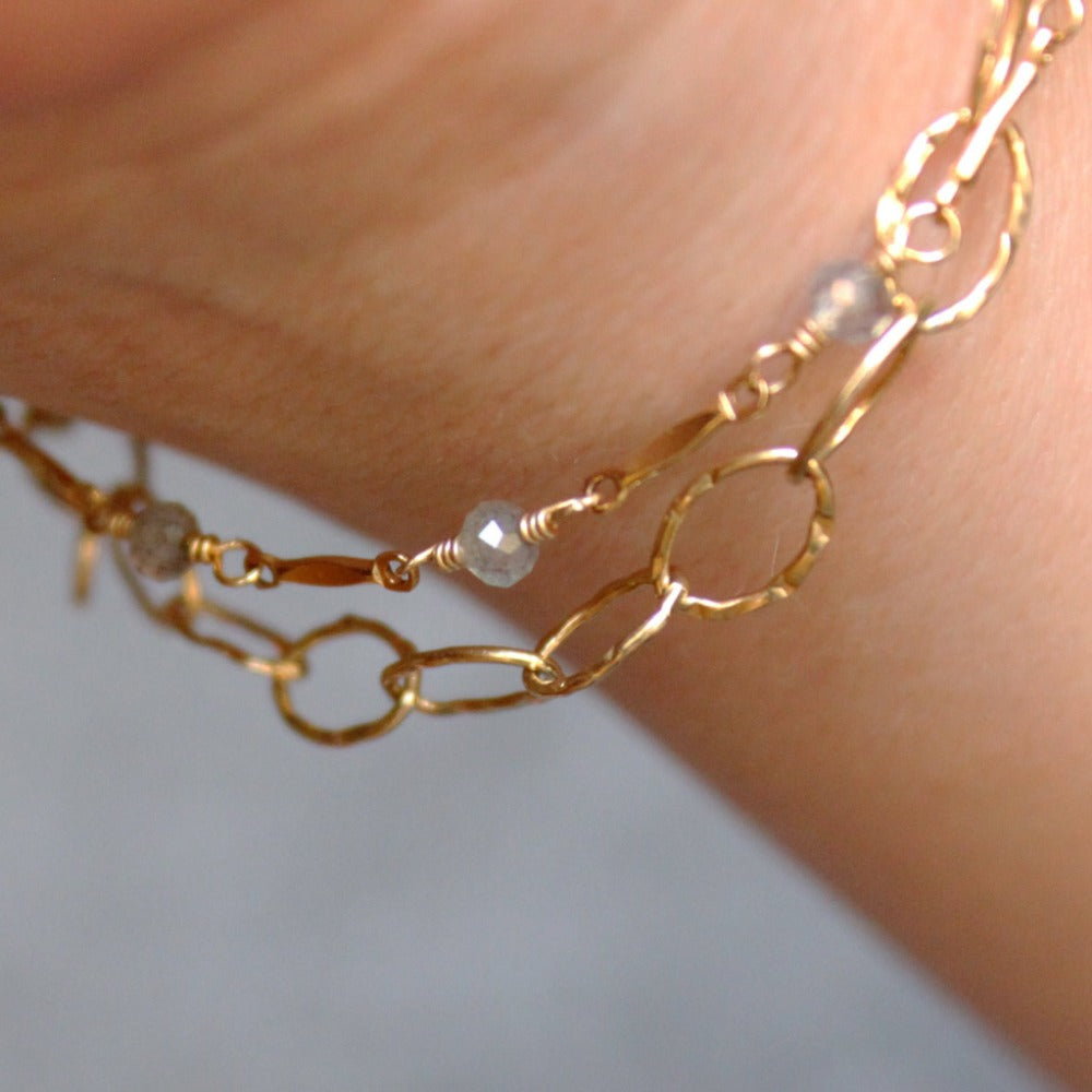 Hammered Oval Link Bracelet | Magpie Jewellery | Yellow Gold | On Model | Layered with Dapped Bar & Gemstone Chain Bracelet