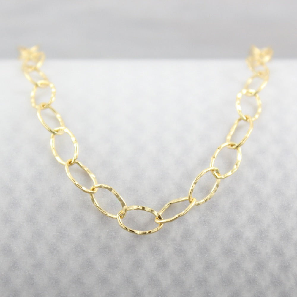 Hammered Oval Link Bracelet | Magpie Jewellery | Yellow Gold