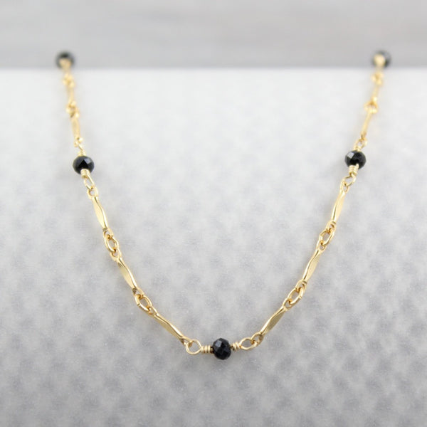 Dapped Bar with Gemstone Chain | Magpie Jewellery | Yellow Gold | Black Onyx