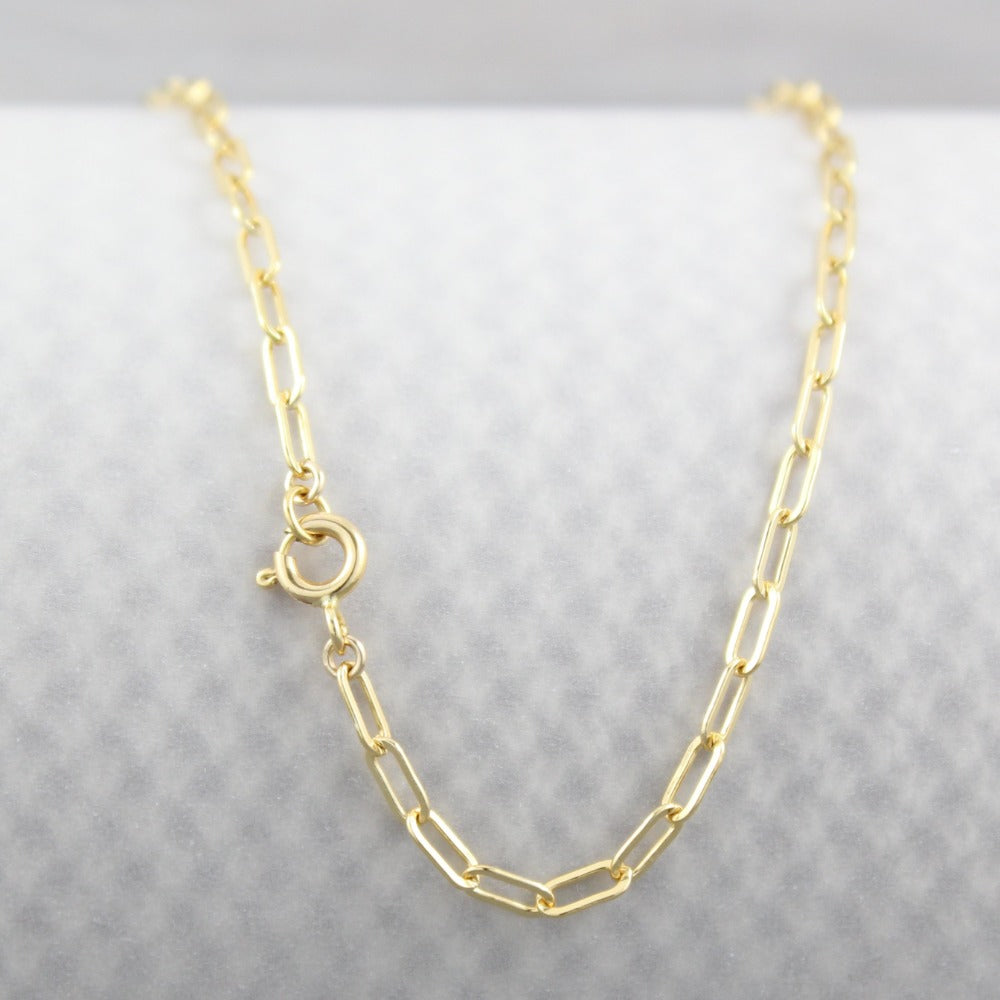 Fine Paperclip Chain | Magpie Jewellery | Yellow Gold | Spring Clasp