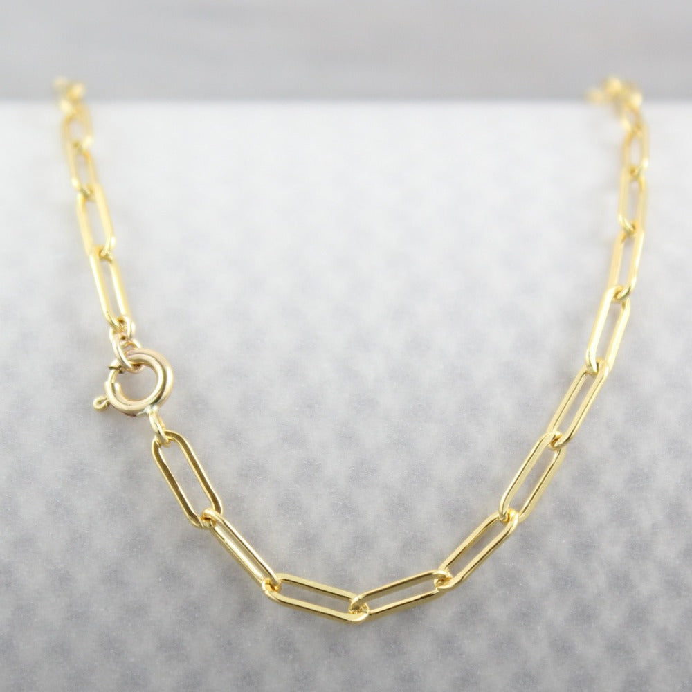 Paperclip Chain | Magpie Jewellery | Yellow Gold | Spring Clasp