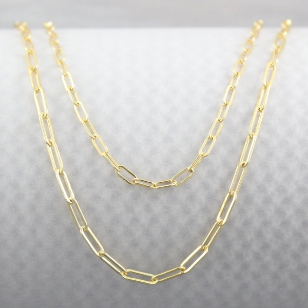 Fine Paperclip Chain | Magpie Jewellery | Yellow Gold | Pictured with Heavier Paperclip Chain at Bottom