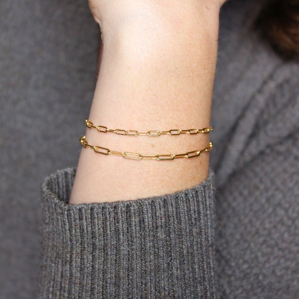 Fine Paperclip Chain Bracelet | Magpie Jewellery | Yellow Gold | On Model | Layered with Heavier Paperclip Chain Bracelet