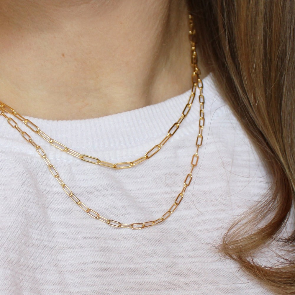 "Fine Paperclip Chain | Magpie Jewellery | Yellow Gold | On Model | Layered 18"" with 16"" Heavier Paperclip Chain"