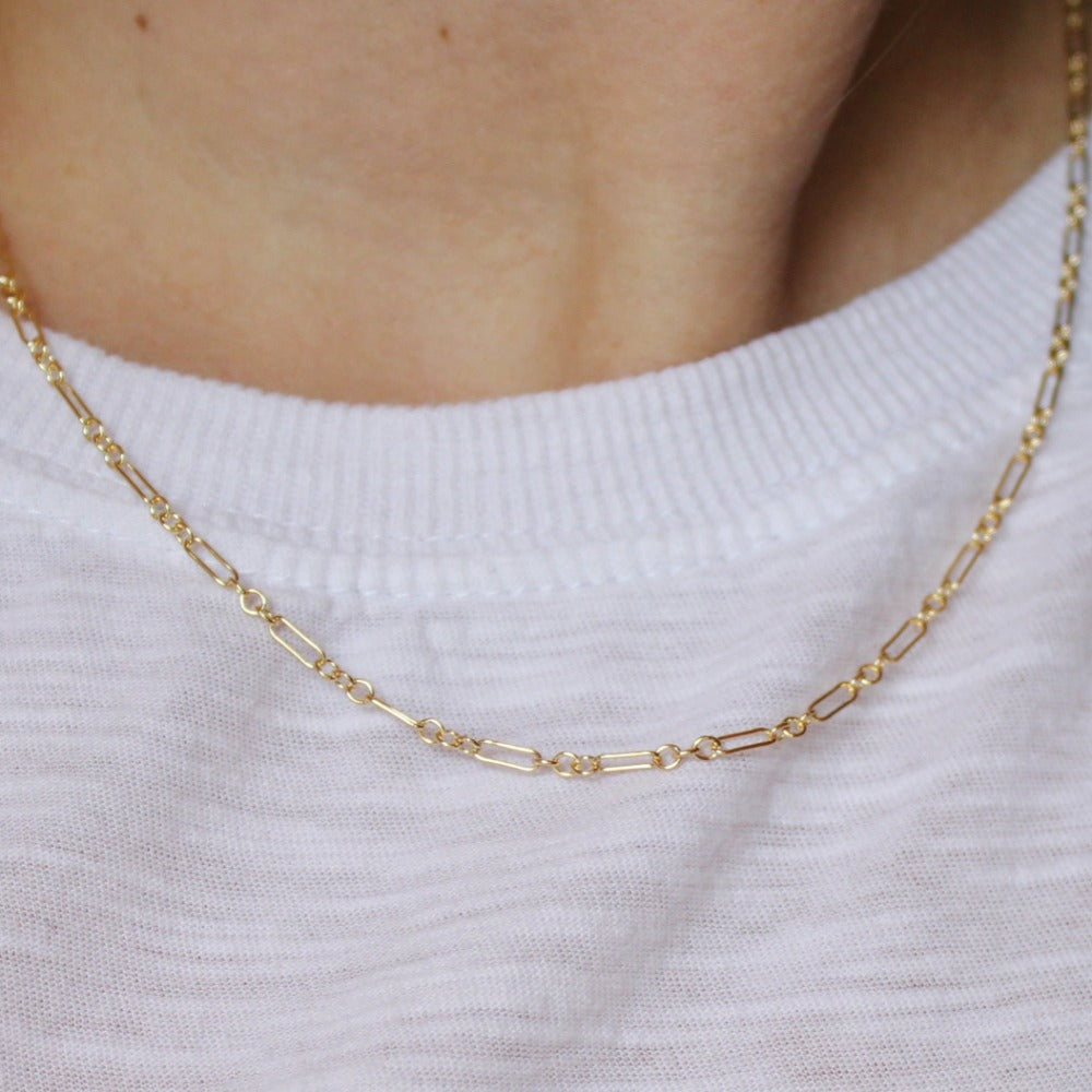 Long & Short Chain | Magpie Jewellery | Yellow Gold | On Model | 18""
