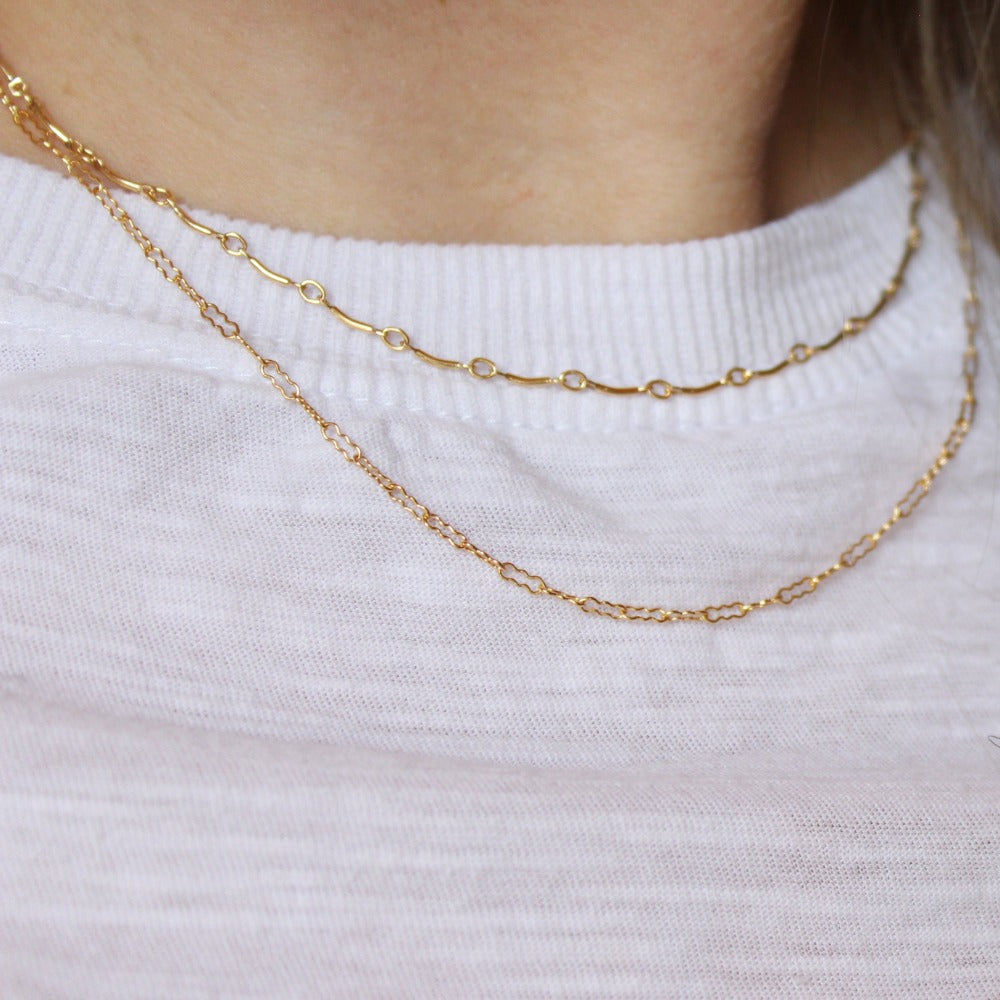 "Curved Bar Chain | Magpie Jewellery | Yellow Gold | On Model | Layered 16"" with 18"" Peanut Chain"