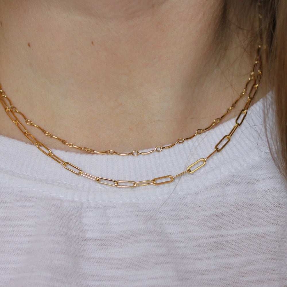 "Paperclip Chain | Magpie Jewellery | Yellow Gold | On Model | Layered 16"" with Curved Bar Chain"