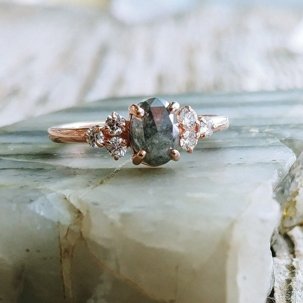 Rose Gold .95ct Oval Rose Cut Salt & Pepper Diamond RingRose Gold .95ct Oval Rose Cut Salt & Pepper Diamond Ring | Magpie Jewellery