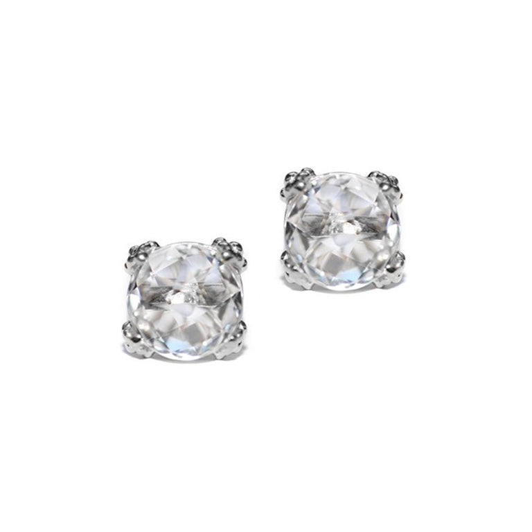 Dewdrop Cluster Studs - Clear Topaz & Silver | Magpie Jewellery