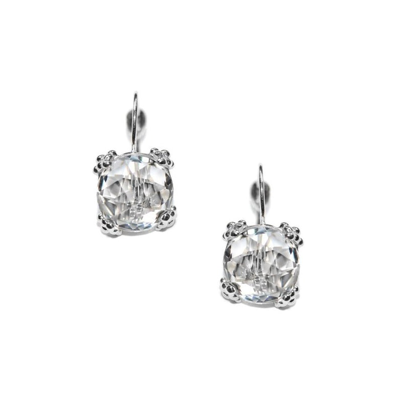 Dewdrop Cluster Earrings - Clear Topaz & Silver