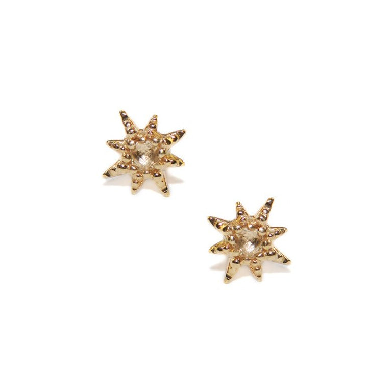 Micro Aztec Starburst Studs - Clear Topaz & Gold | Magpie Jewellery