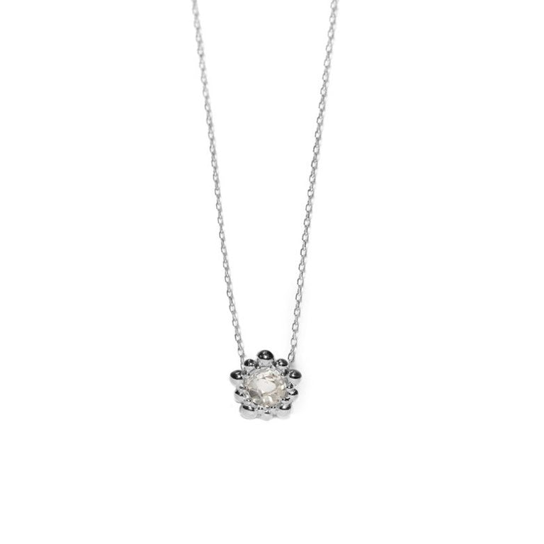 Micro Dew Drop Solitaire Necklace - Clear Topaz in Silver | Magpie Jewellery