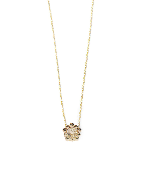 Micro Dew Drop Solitaire Necklace - Clear Topaz