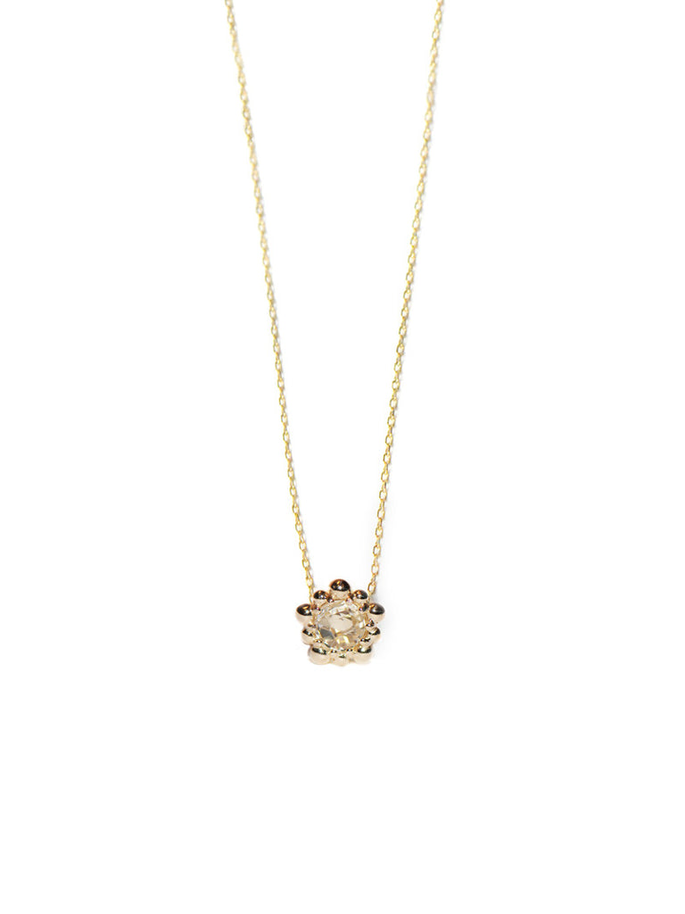 Micro Dew Drop Solitaire Necklace - Clear Topaz in Gold | Magpie Jewellery