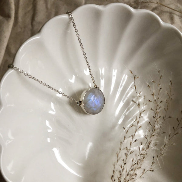 Round Faceted Moonstone Necklace