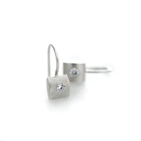 Sterling Silver Pillow Shaped Earrings with CZ