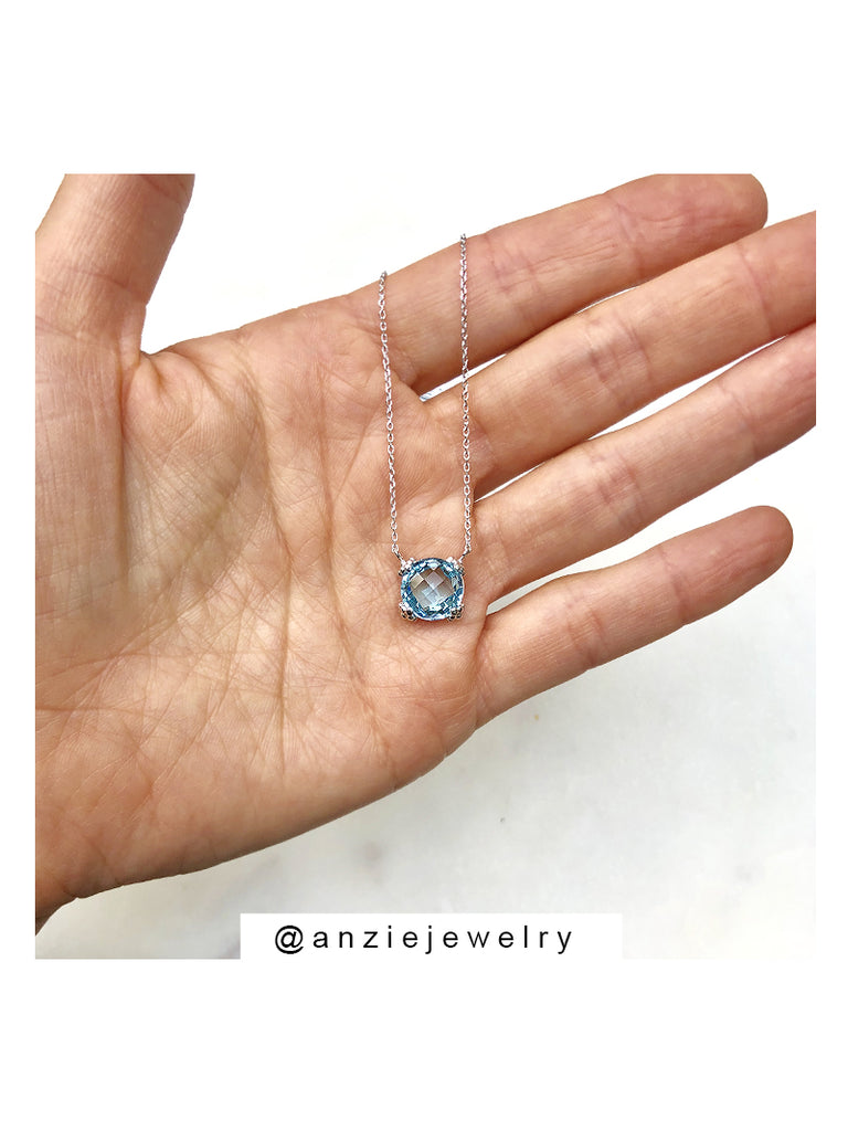 Dew Drop Mini Cluster Necklace - Blue Topaz & Silver | Magpie Jewellery