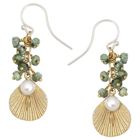 Sea Scallop with Turquoise Earrings