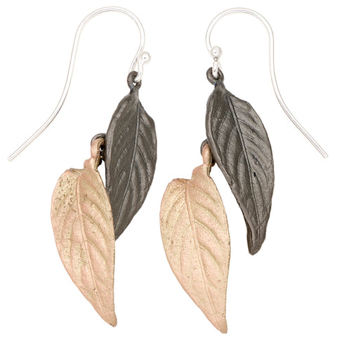 Persian Shield Two Tone Double Leaf Earrings