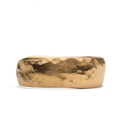 Wide Hammer Gold Band | Magpie Jewellery