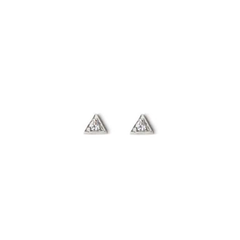 Cléo Triangle Studs - Sapphires & Silver | Magpie Jewellery