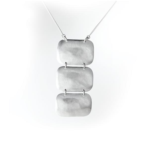 Hammered 3 Tier Sterling Silver Necklace